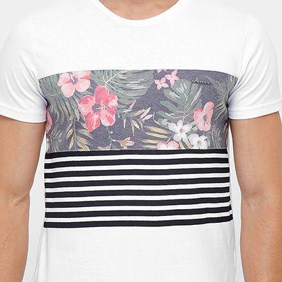 Camiseta Rock   Soda Floral Listras Masculina  5dd906033d5