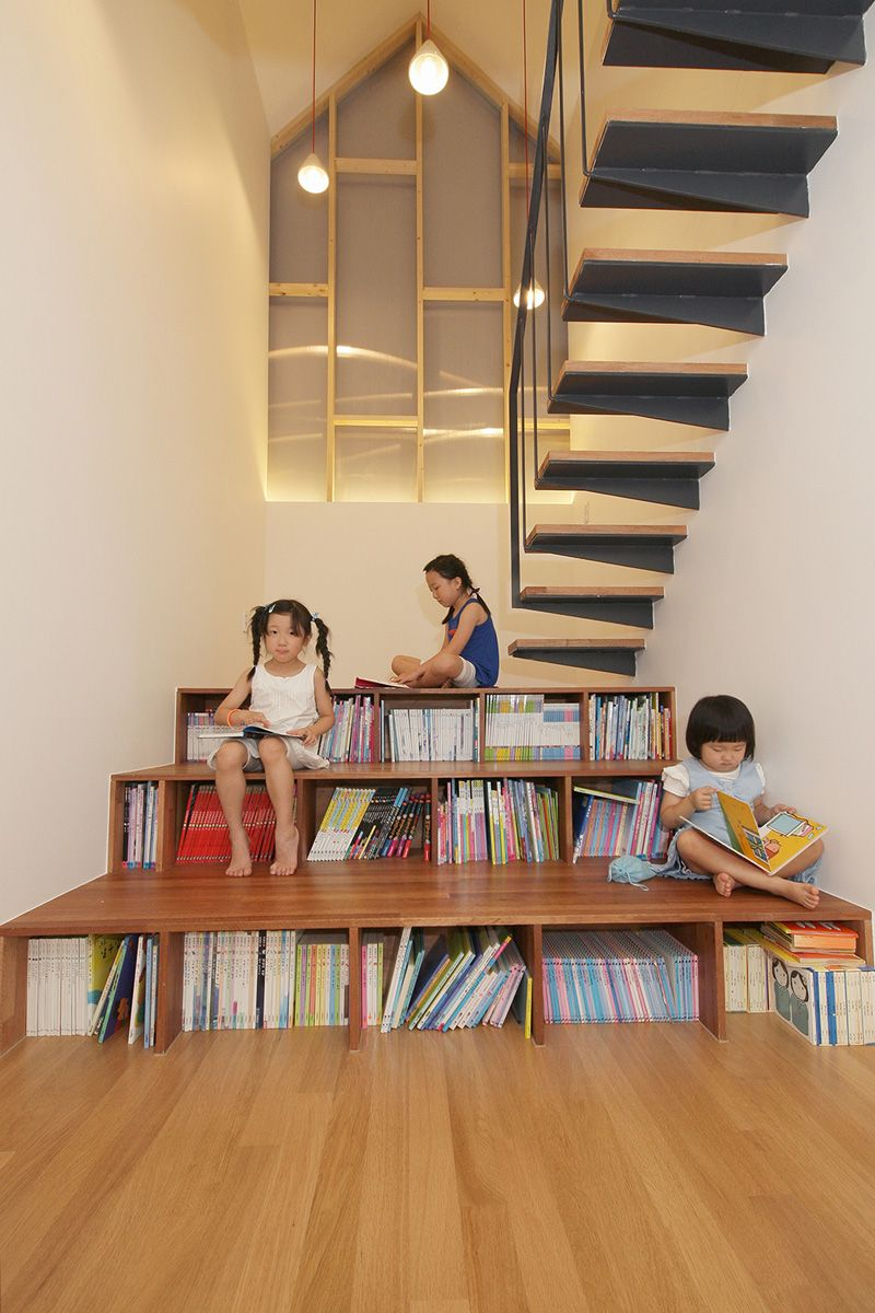 Mlnp architects design library stairs for this home in south korea