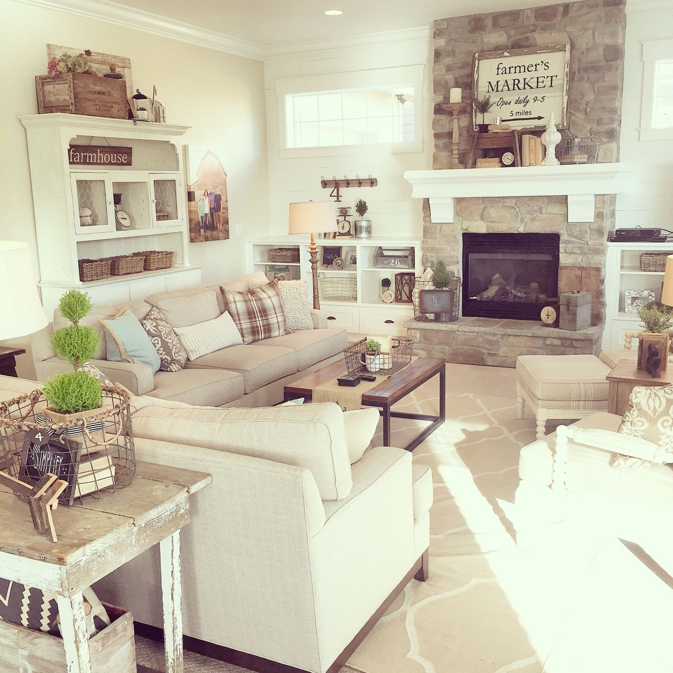 A neutral palette lots of texture modern farmhouse for Neutral family room ideas