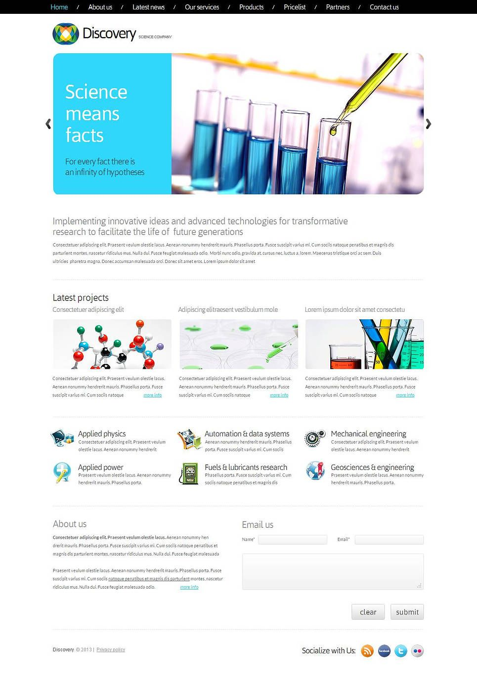 Science Moto Cms Html Template 43819 Html Templates Templates Web Design Software