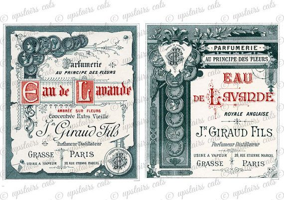 Vintage French Perfume Labels Clipart Collage by UpstairsCats