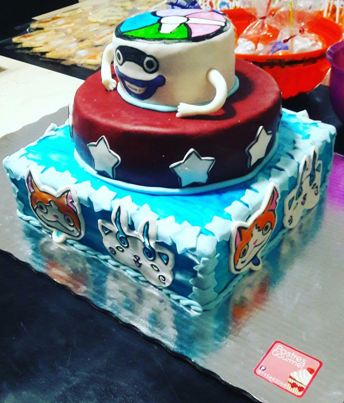 Yokai Watch cake Pastel Fondant birthday party Whisper Jibanyan ...