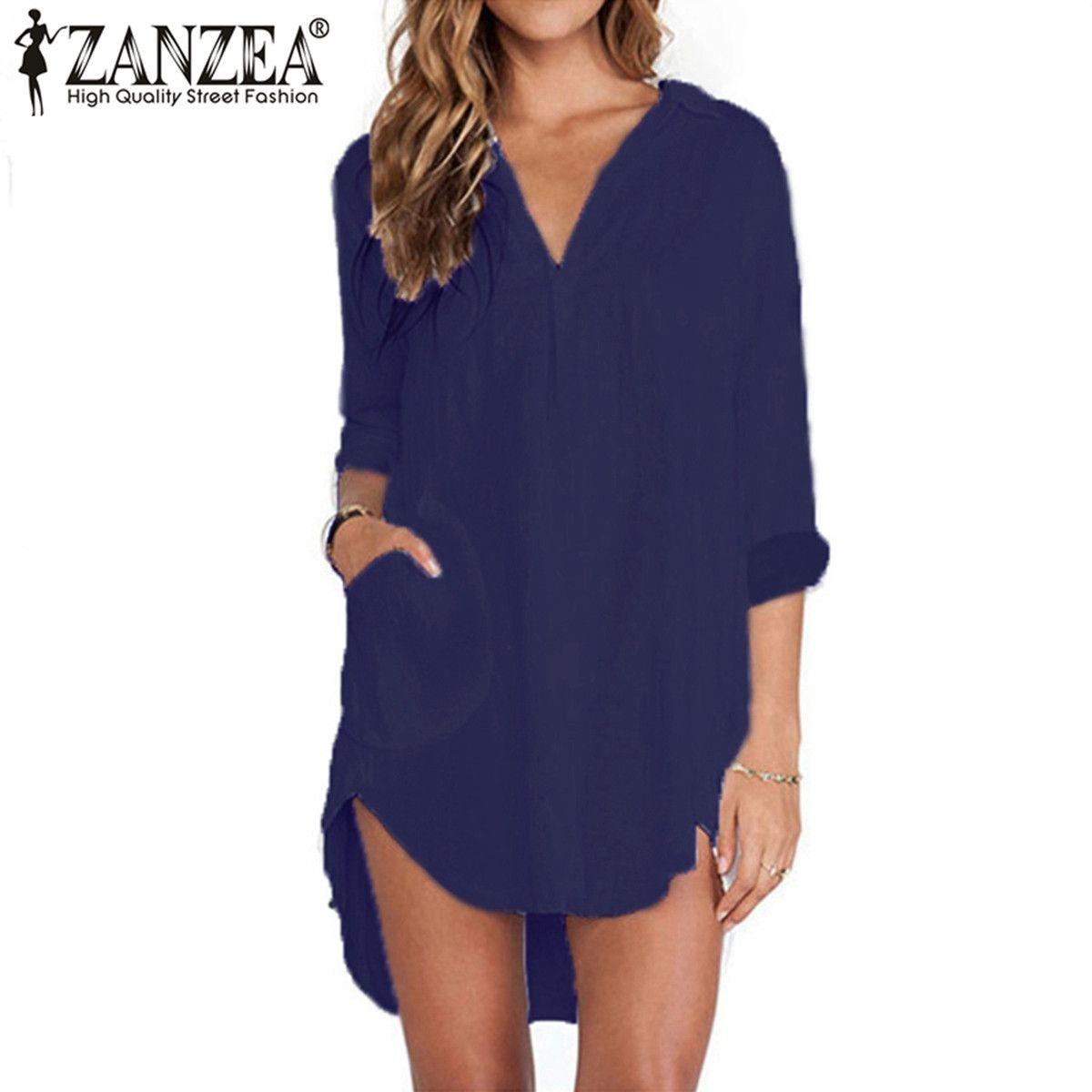 d55f9295b9ab Womens Long Sleeve Pocket Casual Loose T Shirt Dress