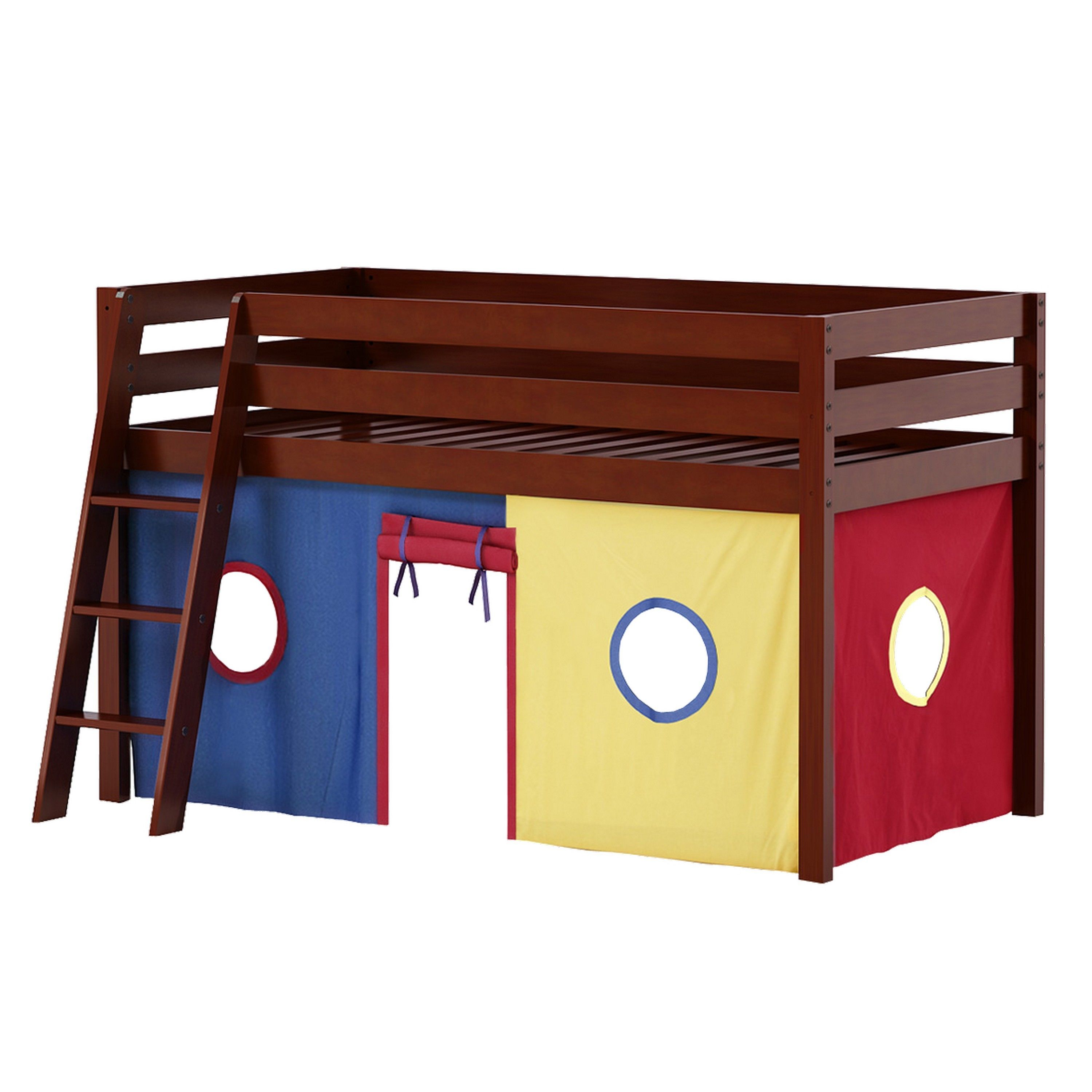 Kids low loft bed  JACKPOT Low Loft Bed with Angle Ladder and Underbed Curtain Cherry