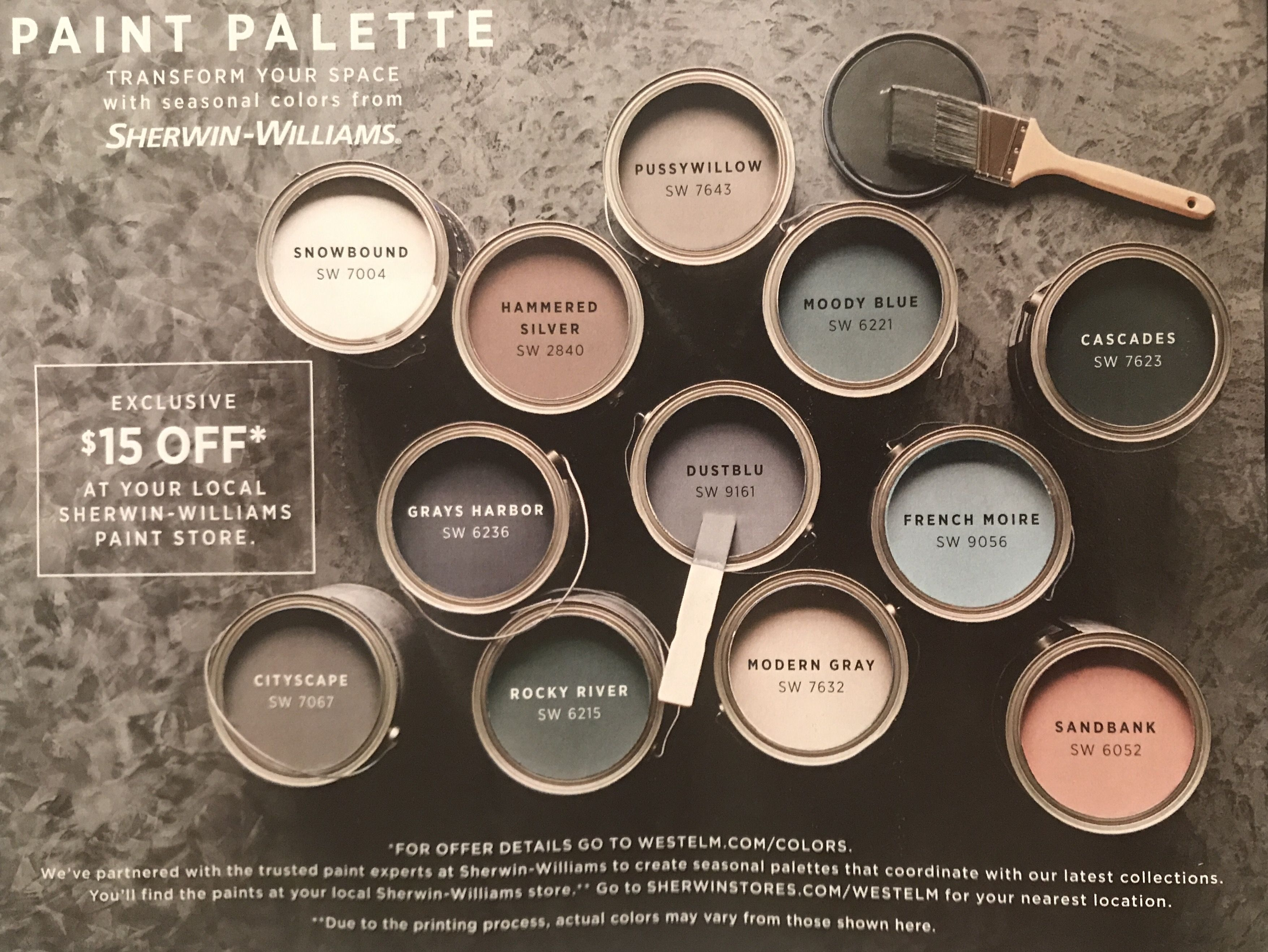 West Elm Fall 2017 Paint Colors By Sherwin Williams Modern Paint