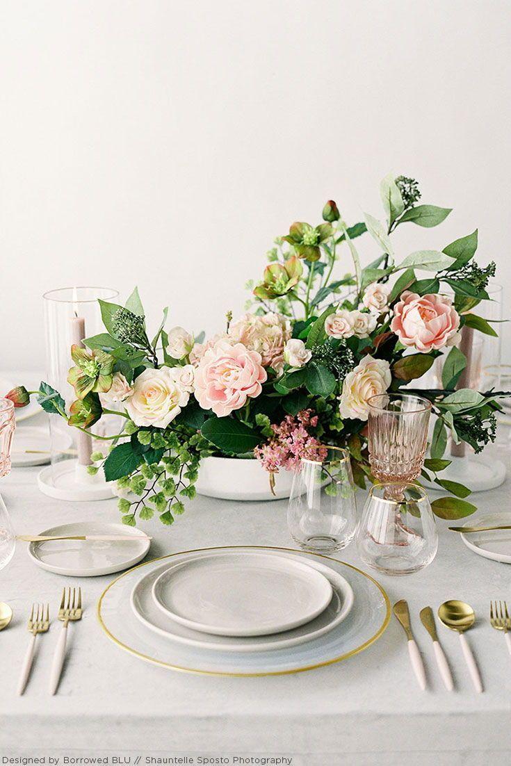 Pink silk flower wedding centerpiece made with high-quality ...