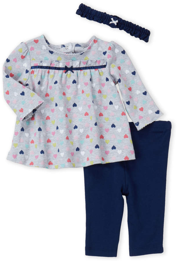 f6304533aceac Little Me Newborn/Infant Girls) 3-Piece Heart Print Tunic & Leggings Set