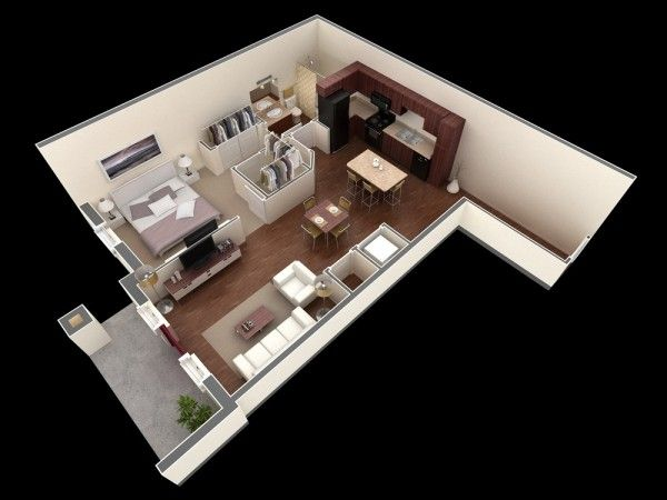 1 Bedroom Apartment House Plans 間取り 小さな家の間取り