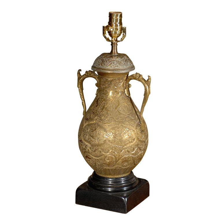 1stdibs.com   19th/20thC PERSIAN EMBOSSED BRASS LAMP