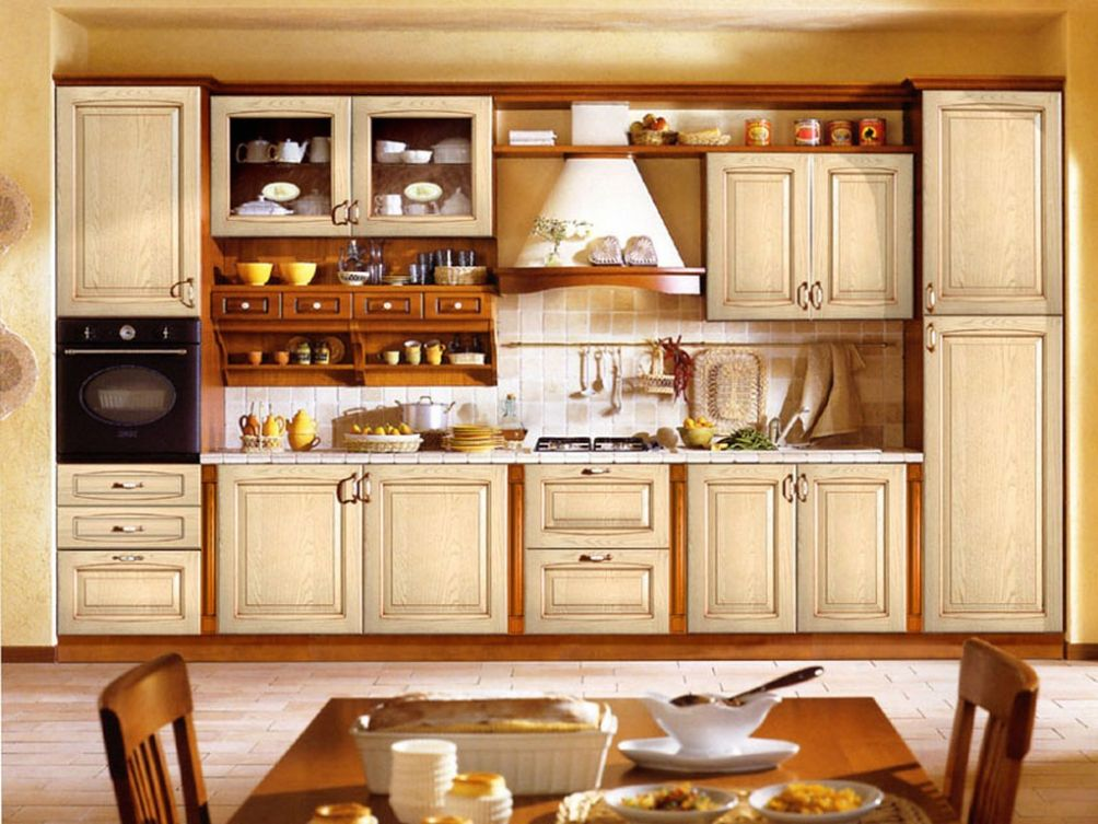 Cabinets Small Open Kitchen With Tile Backsplash And Old ...