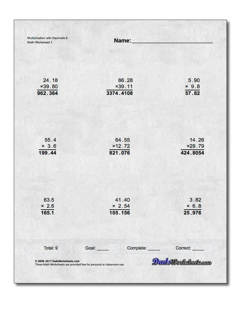 Multiplication Worksheet With Decimals 8 Multiplication Worksheet