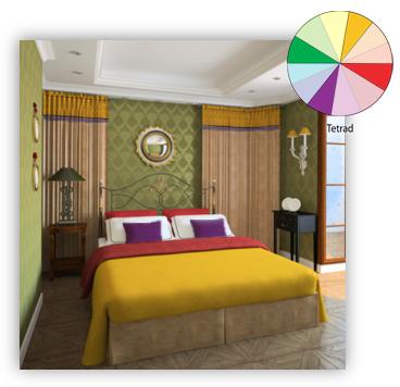 Tetrad scheme fashion designers complimentary color - Harmony in interior design ...