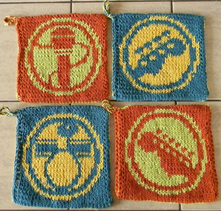 Free Knitting Pattern For Rock Band Pot Holders Rock Music Motifs