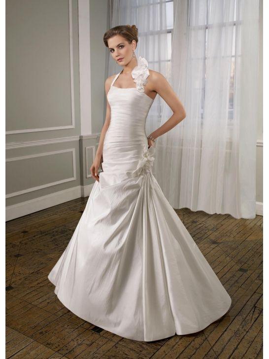 Stylish Taffeta Removable Flowered Halter Mermaid Wedding Dresses Ml6711