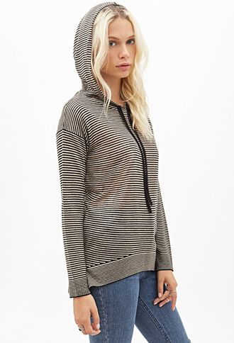 Striped Knit Pullover Hoodie | Forever 21 - 2000056653