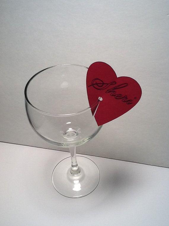 Heart Stemware Name tags  Custom Order for Karla by MinksPaperie, $75.00