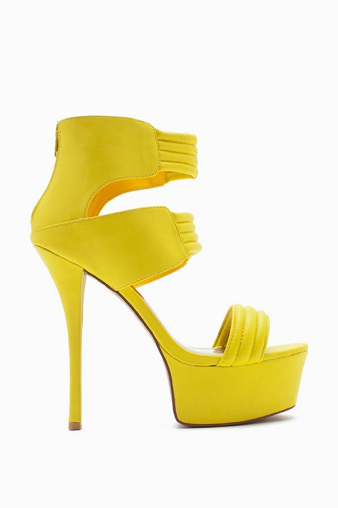 Own the club in this hot peep toe platforms! Sexy ribbed straps at the ankle, mid-point, and toe. High stiletto heel. Zippered heel cover.