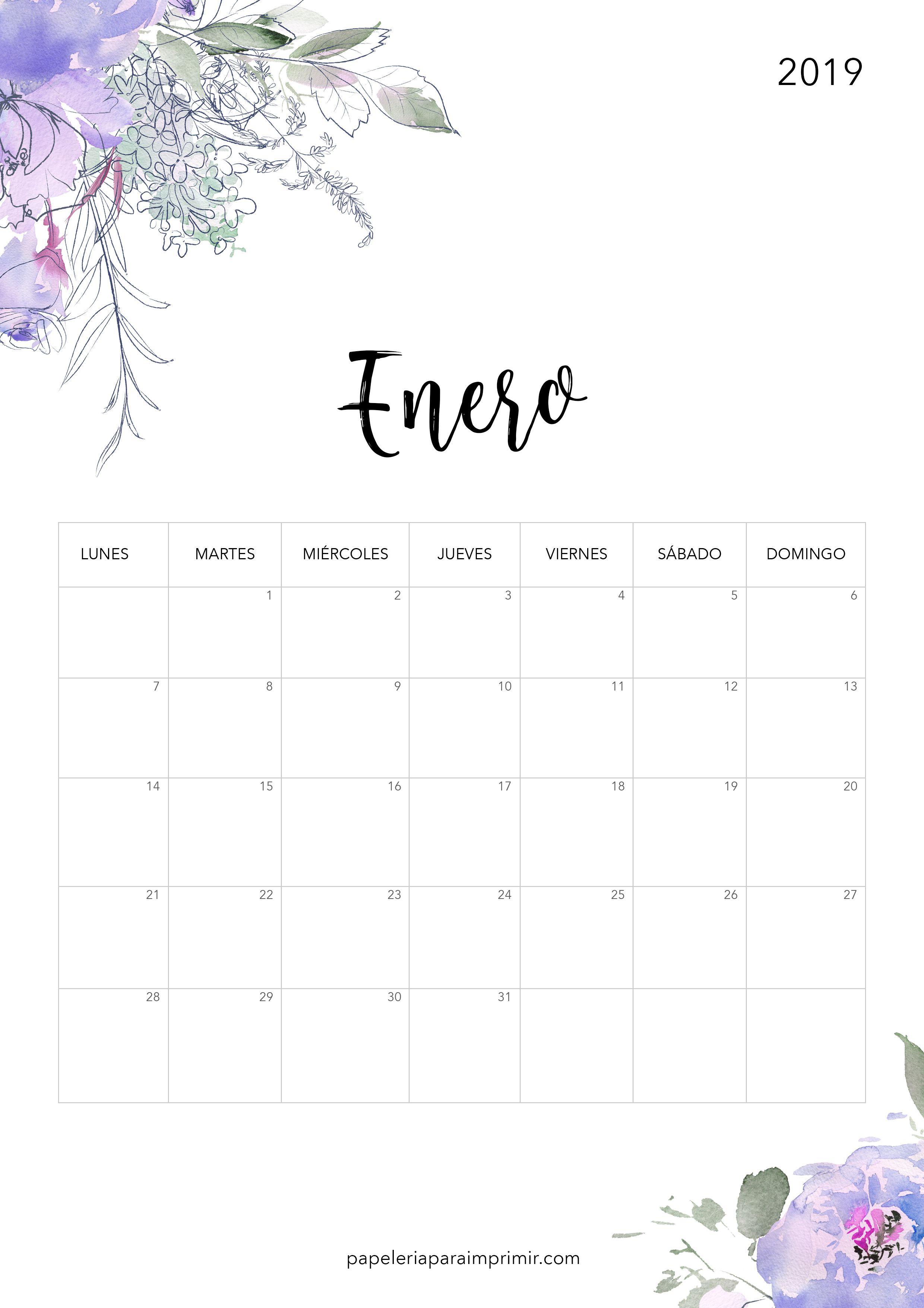 Calendarios De February De 2019 Bonitos Calendario para imprimir 2019   Enero #calendario #imprimir #enero