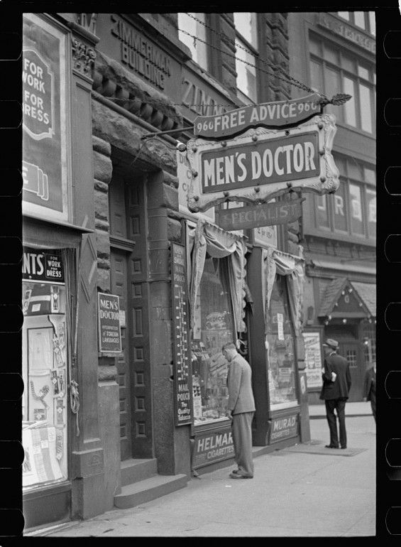 Granted, you probably wouldn't really want to visit this quack doctor's office, but it's hard to deny that his sign was far more inviting than anything you'll see today. And, in case you were wondering, even photographer Arthur Rothstein labeled this doctor as a quack when he shot this image in Pittsburgh back in 1938.