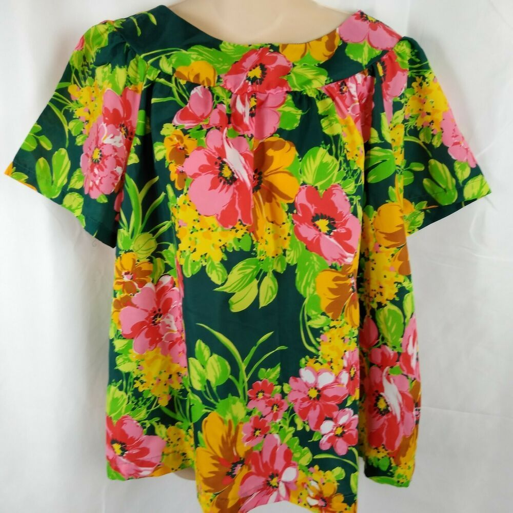 b52a8c5b6788c Vtg Floral Hawaiian Blouse Pullover Short Sleeve Top Green Pink Yellow  Flowy M L  LaRosa  Hawaiian  Everyday