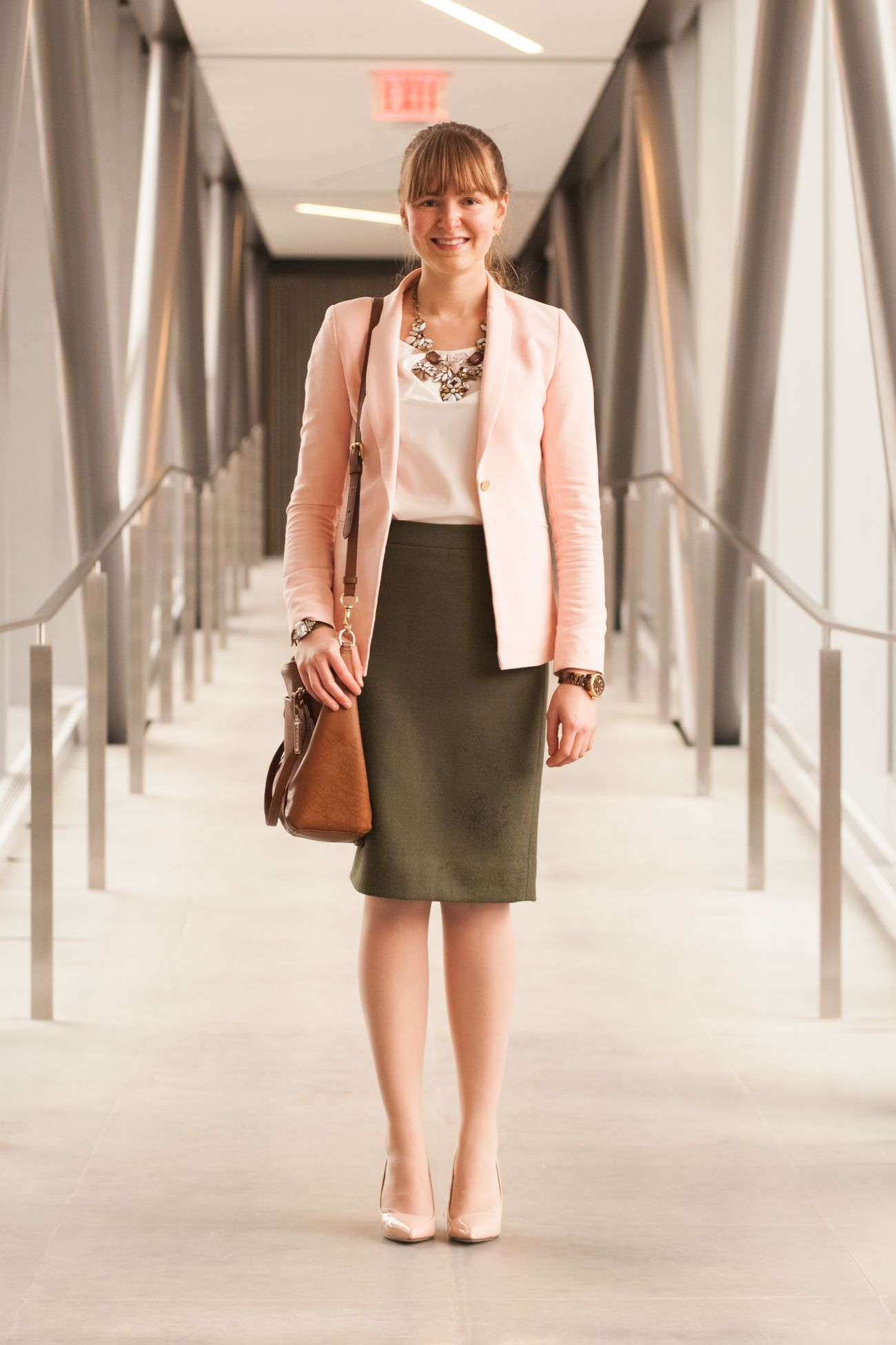 0087a17e5d Blush blazer, white top, olive pencil skirt, nude pumps. Green Skirt Outfits
