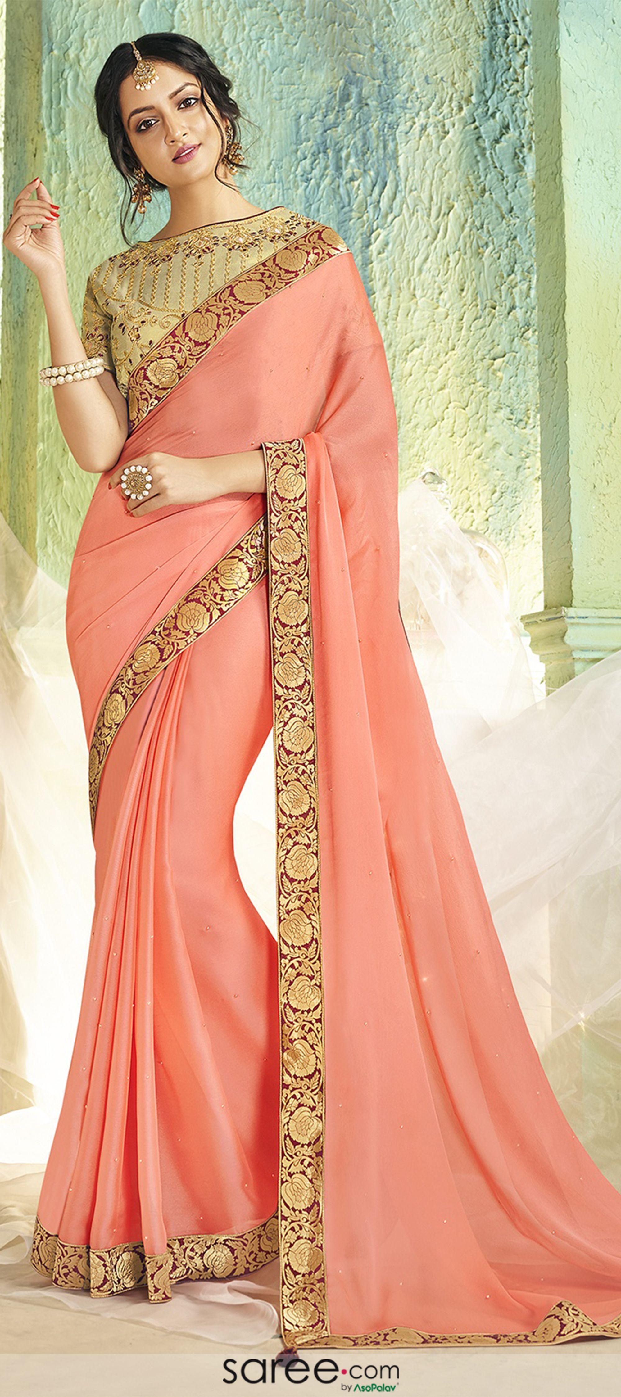Indian Bollywood Designer Chiffon Saree Panwari Work Wedding Party Wear Sari