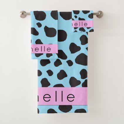 Your Name - Animal Print Cow Spots - Blue Black Bath Towel Set - black gifts unique cool diy customize personalize