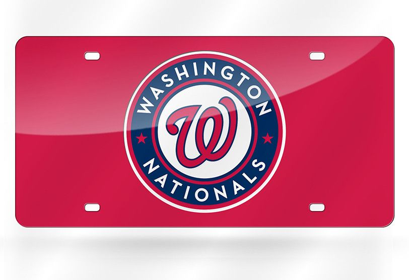 MLB Washington Nationals Laser License Plate Tag - Red
