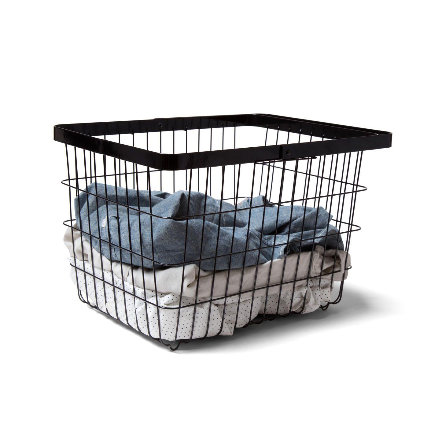 Black Steel Laundry Basket Laundry Basket Small Bathroom