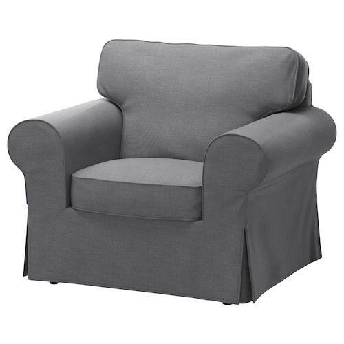 EKTORP Armchair - Nordvalla dark gray - IKEA | Stuhlbezüge ...