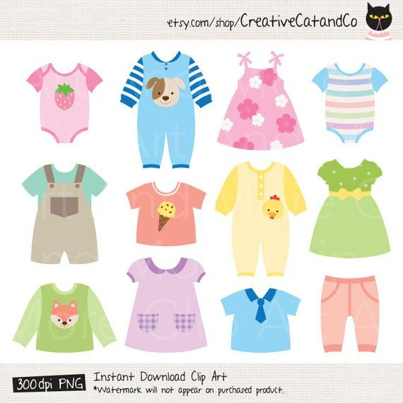 47e257440 Baby dress Clipart Baby Shower Clipart Baby Clothes Clipart ...