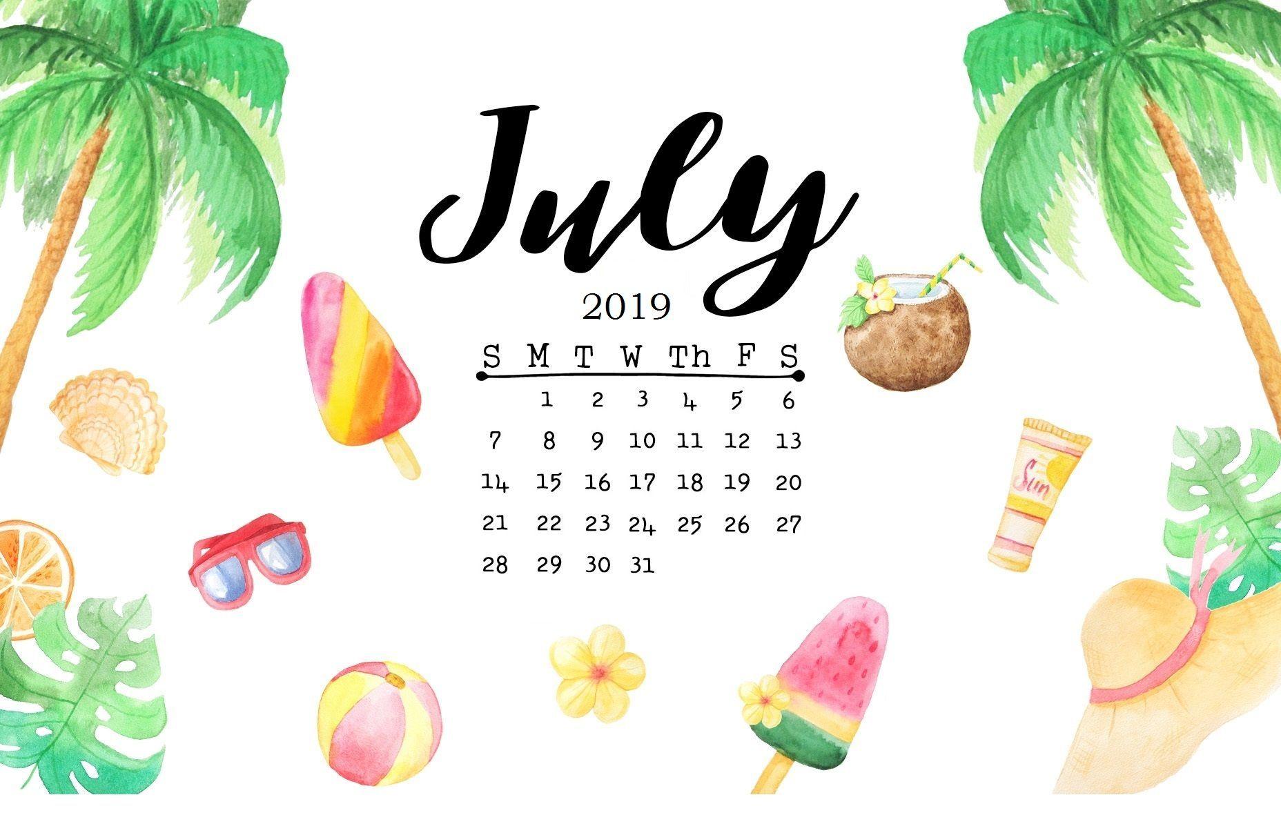 Floral Cute July 2019 Calendar Printable Template for Kids