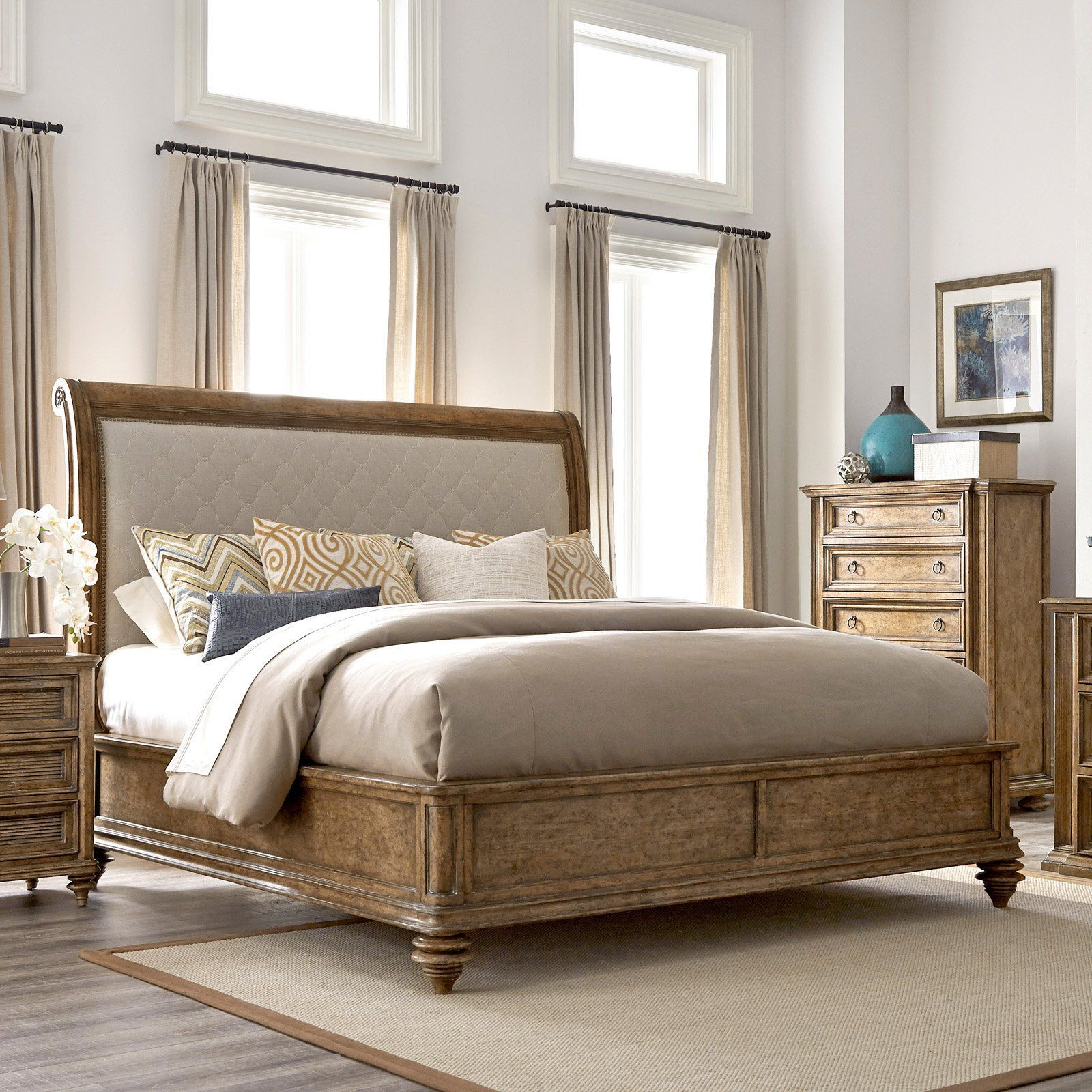 A.R.T. Furniture Pavilion Upholstered Sleigh Bed from