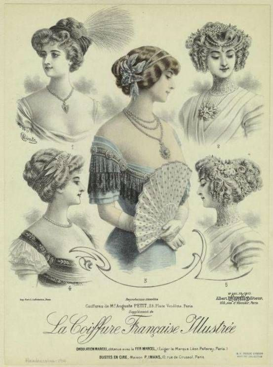 French Fashion Chromolithograph Victorian Hairstyles Plate 1900s La Coiffure Francaise Illus Historical Hairstyles Victorian Hairstyles Edwardian Hairstyles