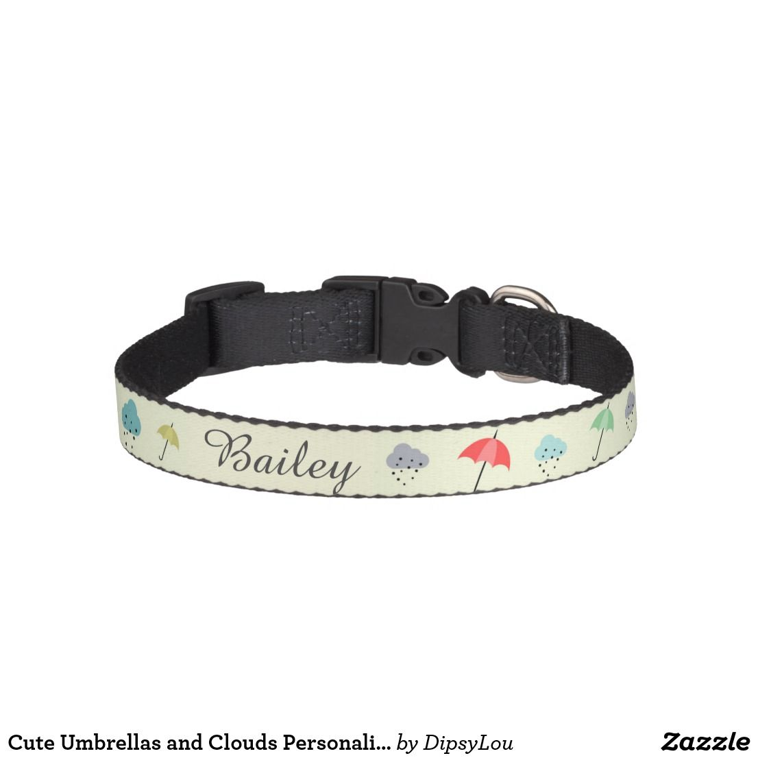 Cute Umbrellas and Clouds Personalised Pet Collar | Zazzle.com
