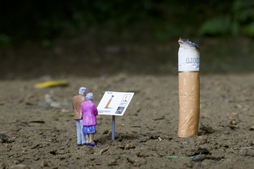 The street artist known only as Slinkachu has been abandoning little people on the streets of London since 2006. Description from pinterest.com. I searched for this on bing.com/images