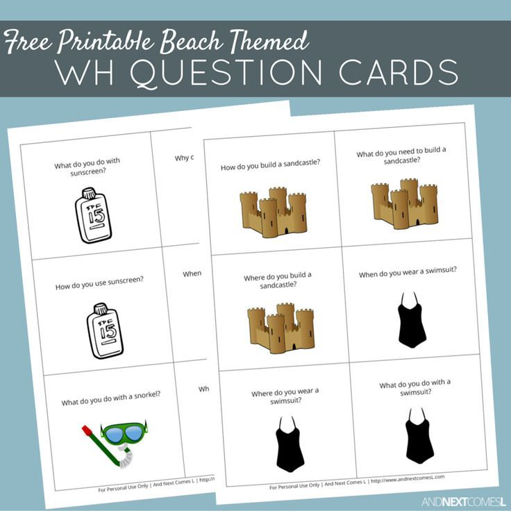 Number Line Worksheets simple wh questions worksheets : Free Printable Beach Themed WH Question Cards | Wh questions, Free ...