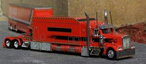 Peterbilt 389 sleeper Show Truck w//XL Cheater Lowboy w//Jeep color Marron//Black