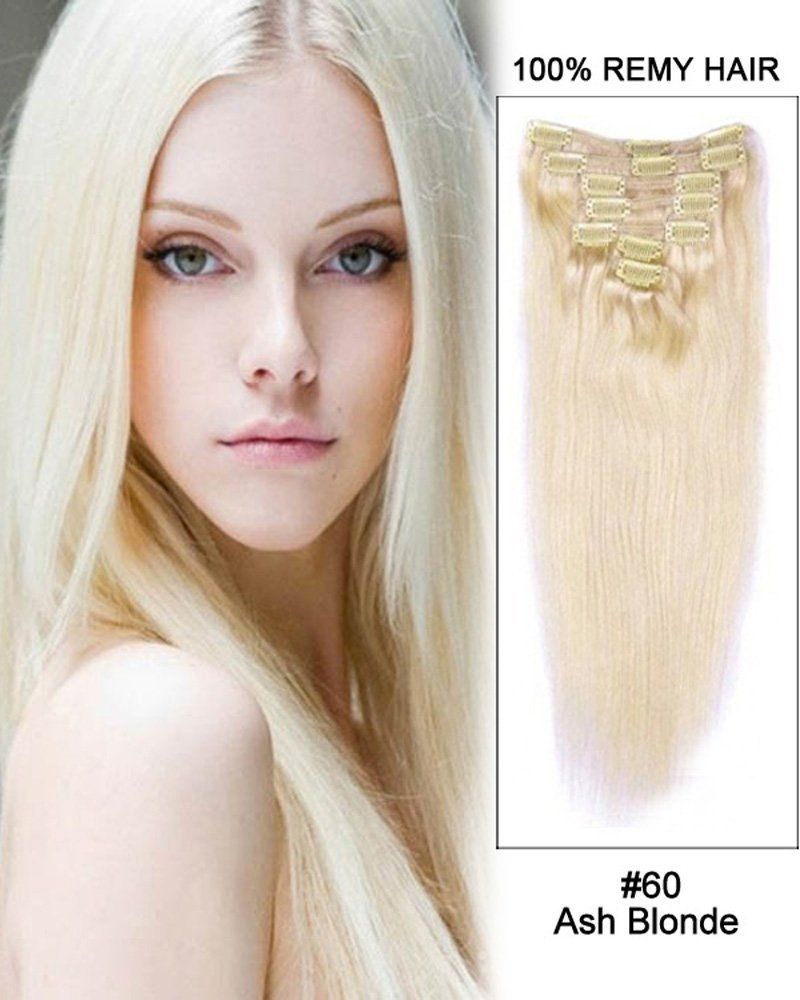 7pcs Straight Remy Hair Clip in Hair Extensions  60-Ash Blonde (22