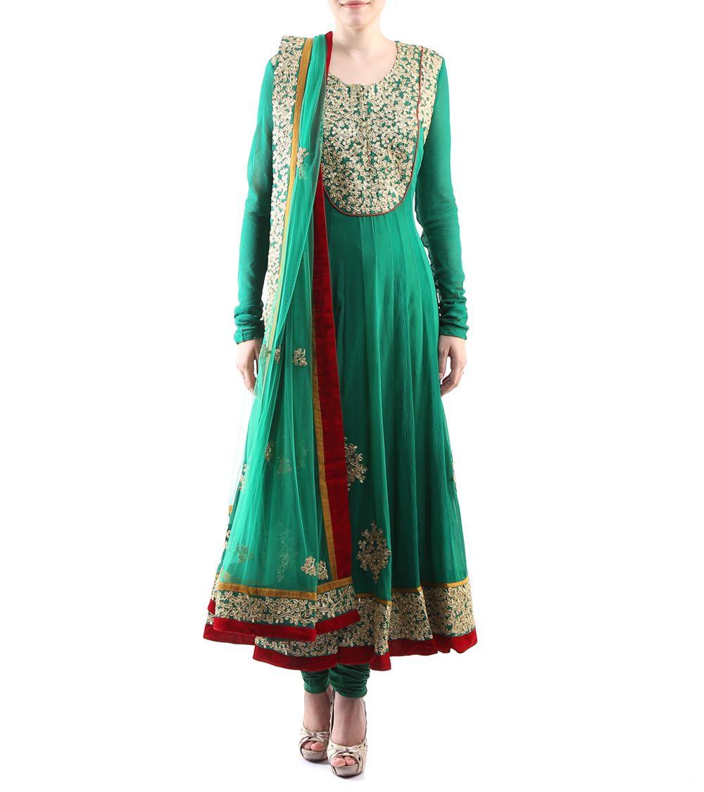 Green Dori Embroidered Georgette Anarkali Suit #indianroots #ethnicwear #anarkali #georgette #doriembroidered