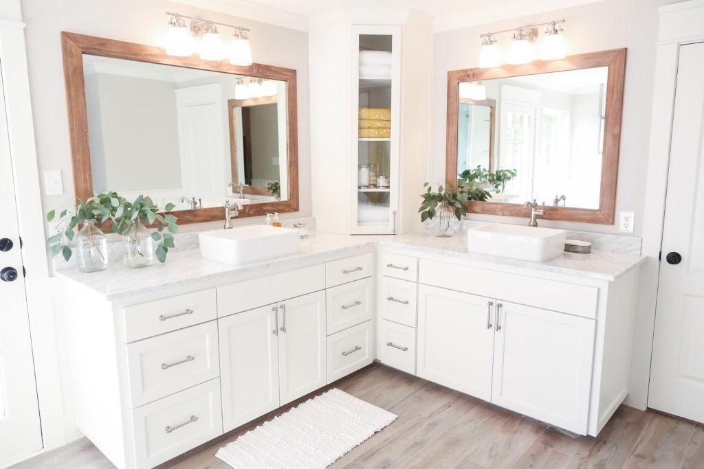 Episode 09 The Chip 2 0 House Magnolia Market Corner Bathroom Vanity Fixer Upper Bathroom L Shaped Bathroom