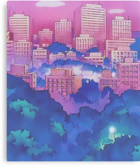 Sailor Moon Pink City Dream Landscape Canvas Print