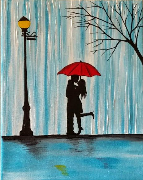 Couple In Rain Painting Couple Kissing In The Rain Wall Art Couple