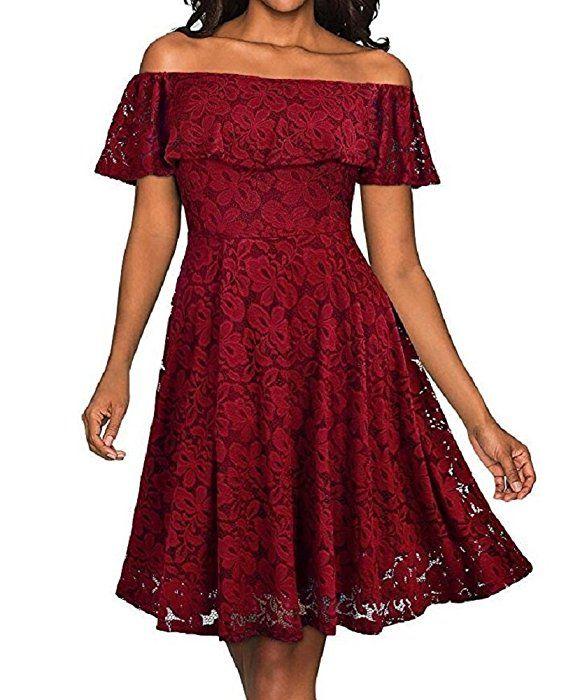 Damen Elegant Vintage Kleider Off Schulter Schwingen Pinup ...