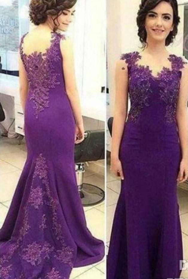 Purple Elegant Mermaid Evening Dresses Lace Appliques   Balla ...