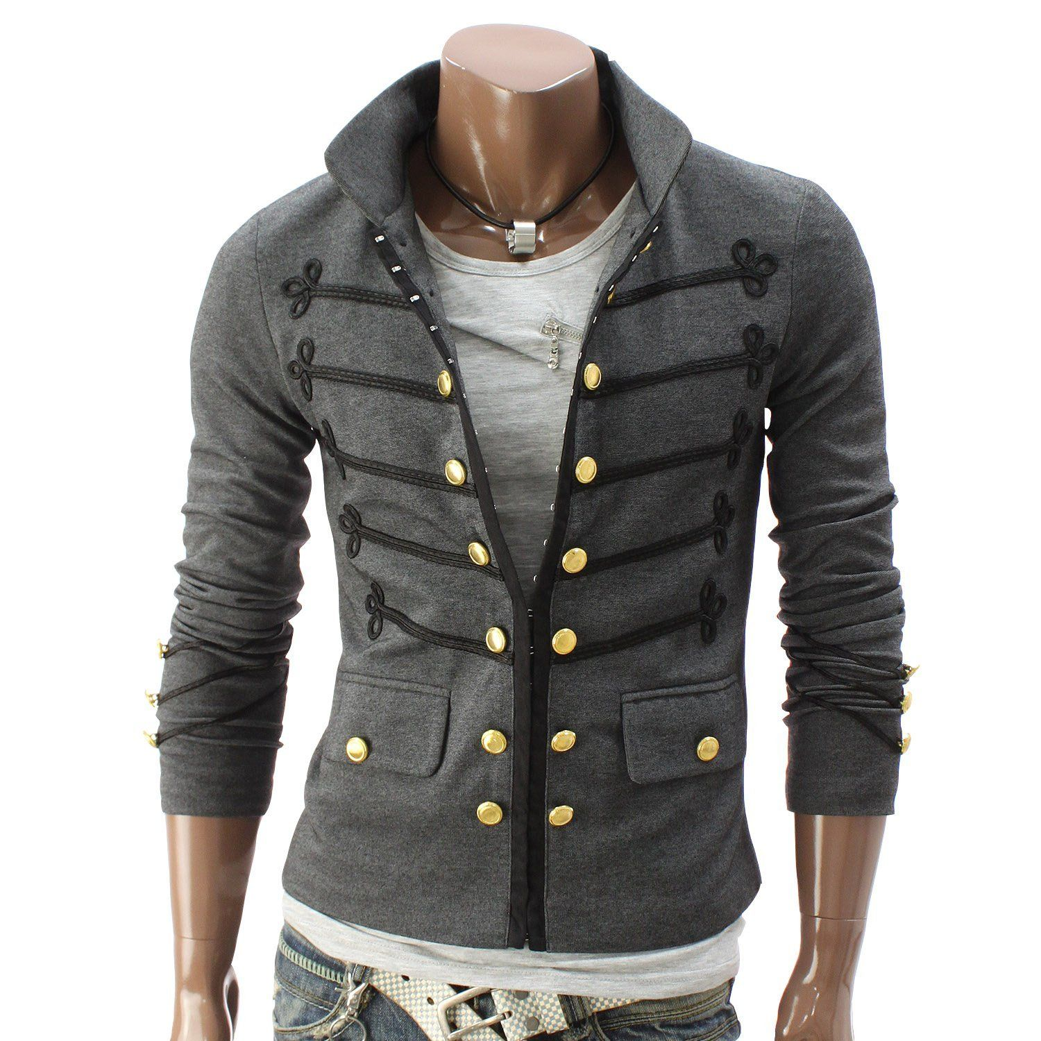 Mens jacket diagonal zipper