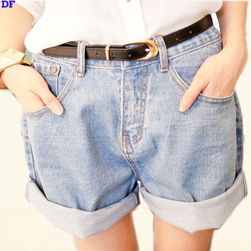 Cheap Cintura alta Pantalones Cortos de Mezclilla Mujeres de La ...