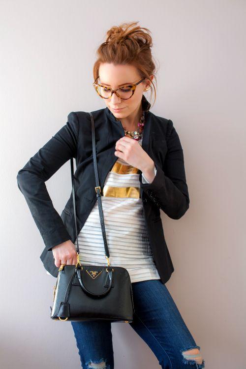 Outfit Of The Yesterday: J Crew Spring 2015 Collection Metallic Stripes (+ A Quick Trip to Minneapolis, Too!) - t h e (c h l o e) c o n s p i r a c y : fashion + life + style #springstyle #prada #jcrew #gorjana #ootd
