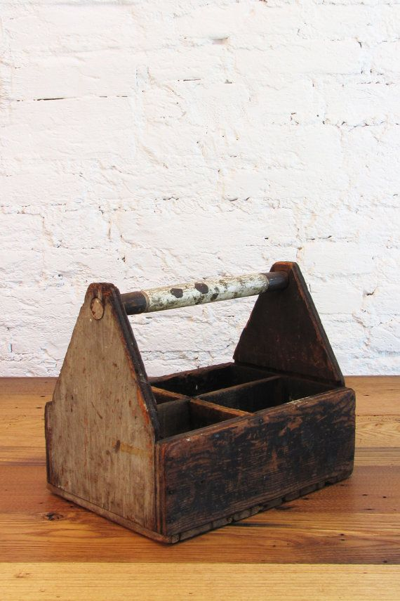 Vintage Handmade Wood Carpenters Tool Caddy Wooden Box With Handle