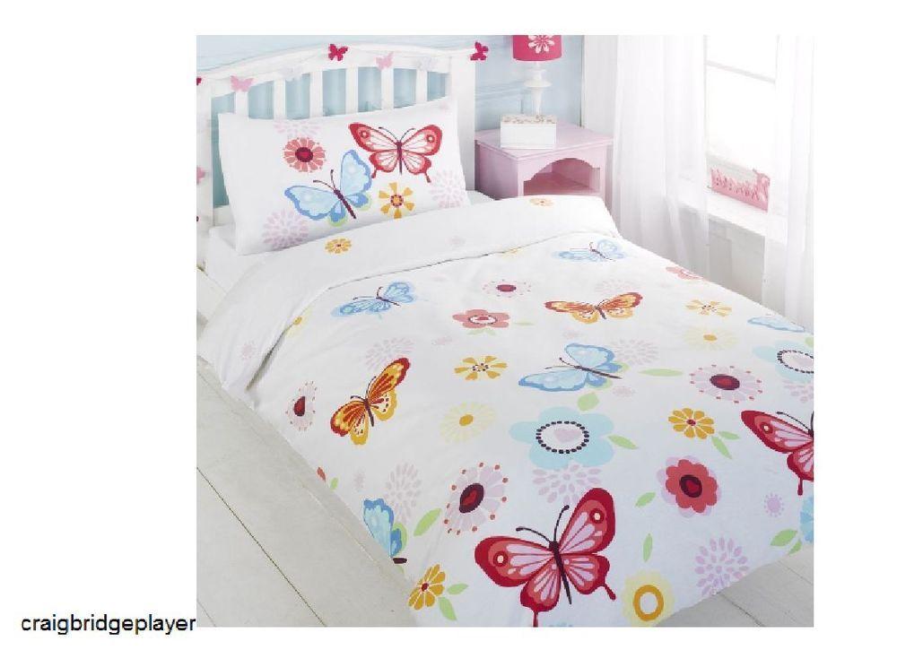 Girls Bedding Set Butterflies Duvet Quilt Cover Kids Cot Toddler Single Childs Duvet Bedding Sets Girl Beds Single Duvet Cover